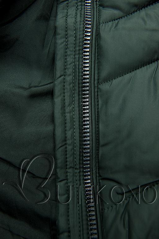 Tmavozelená predĺžená bunda s opaskom