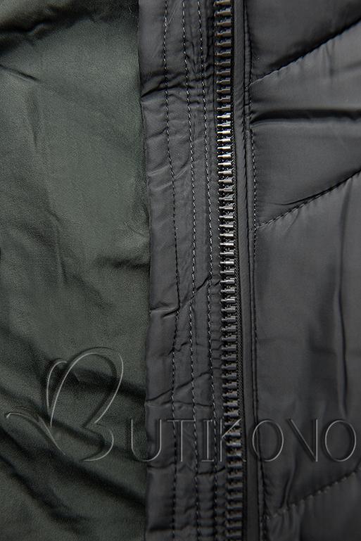 Tmavosivá predĺžená bunda s opaskom