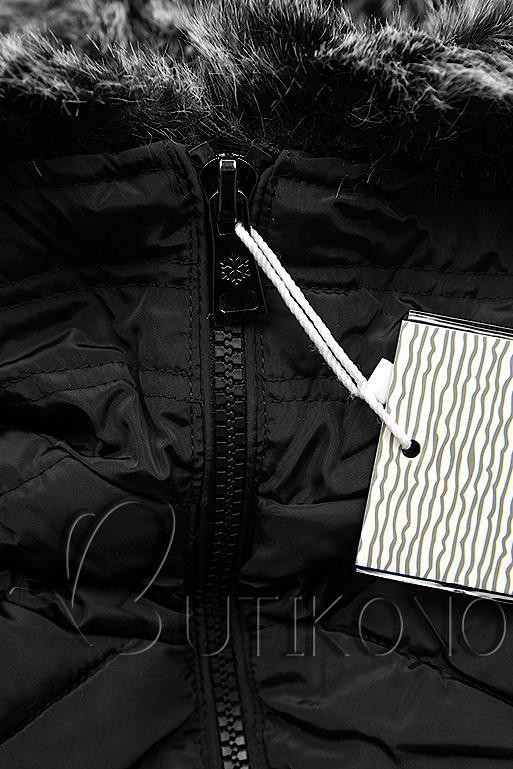 Čierna dlhá prešívaná bunda