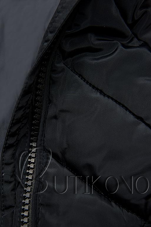 Tmavomodrá dlhá prešívaná bunda