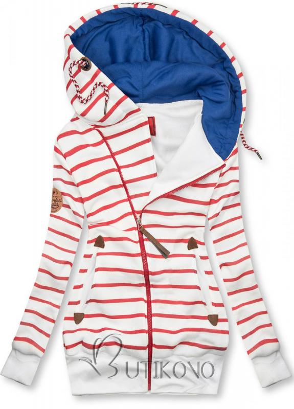 Bielo-červená pruhovaná mikina s modrou kapucňou