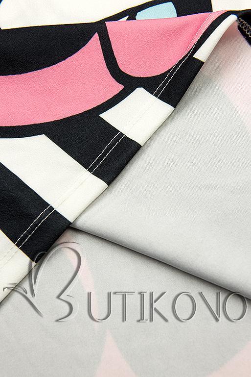 Plus Size pruhovaná tunika s potlačou čierna/biela