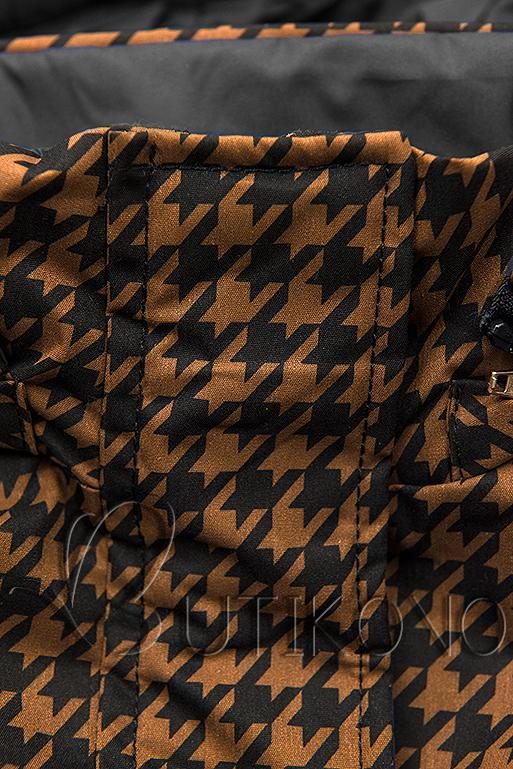 Prechodná parka s pepito vzorom hnedá/čierna