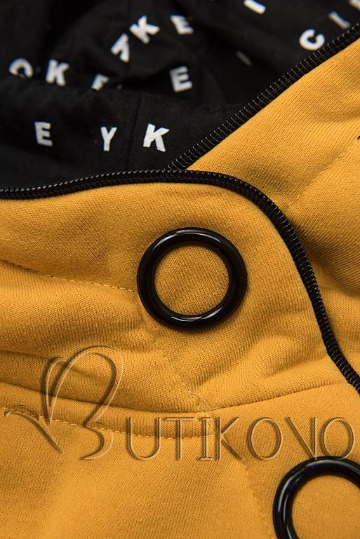 Žltá tepláková súprava so vzorovanou kapucňou