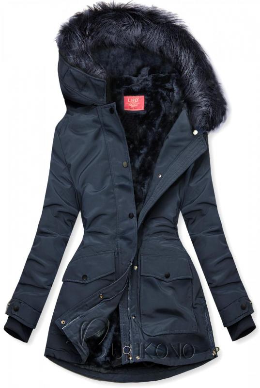 Tmavomodrá bunda zateplená plyšom