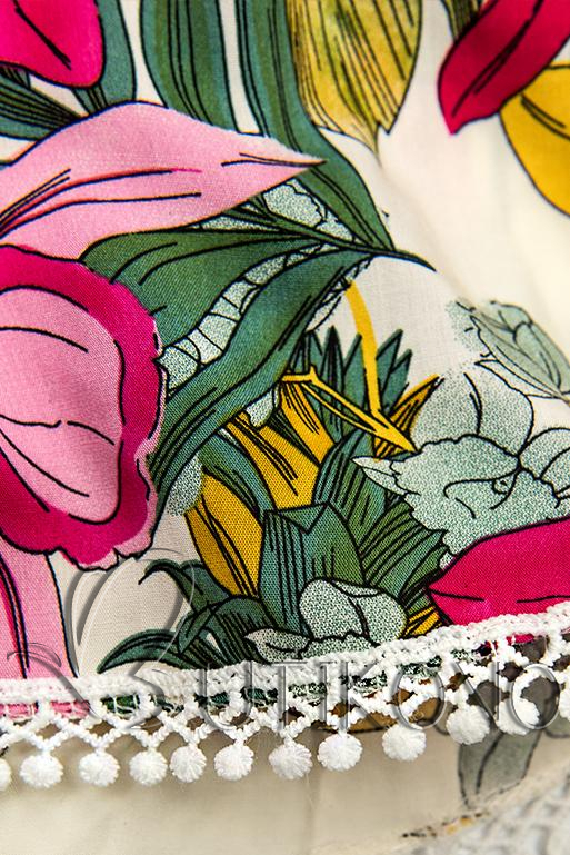 Kvetinové šortky s čipkou biela/ružová