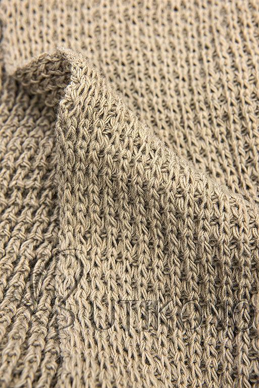 Hnedý asymetrický pletený kardigán