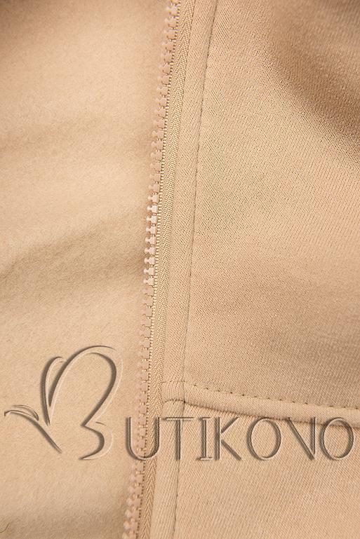 Predĺžená mikina s kapucňou béžová/khaki