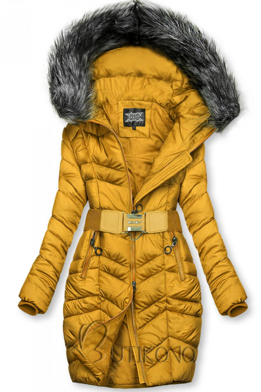 Horčicovožltá predĺžená bunda s opaskom