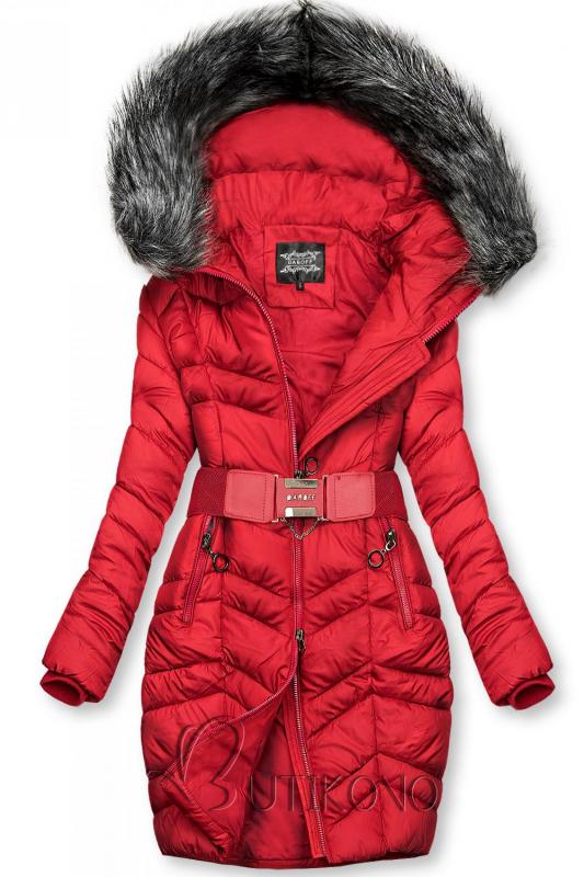 Červená predĺžená bunda s opaskom