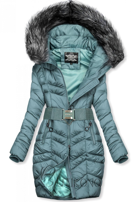 Tyrkysovozelená predĺžená bunda s opaskom
