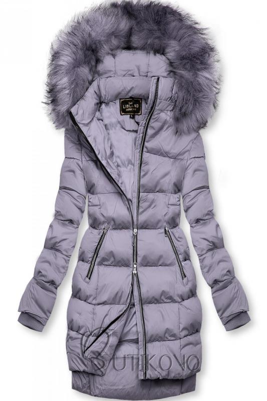 Fialová zimná bunda na zips