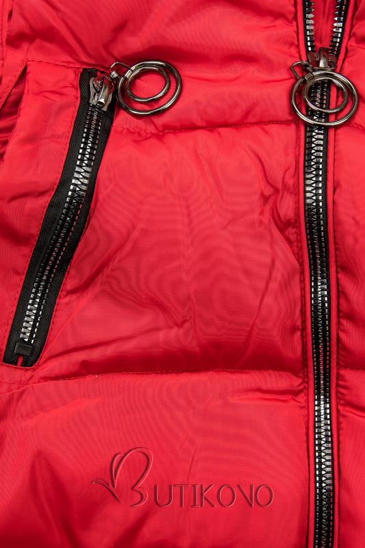 Červená zimná bunda s kapucňou