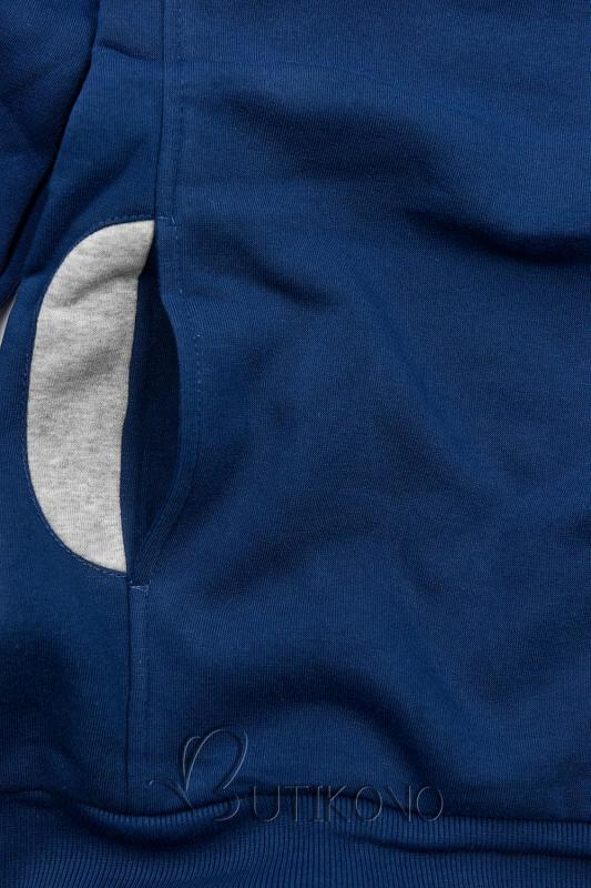 Modrá mikina s kontrastnými detailami