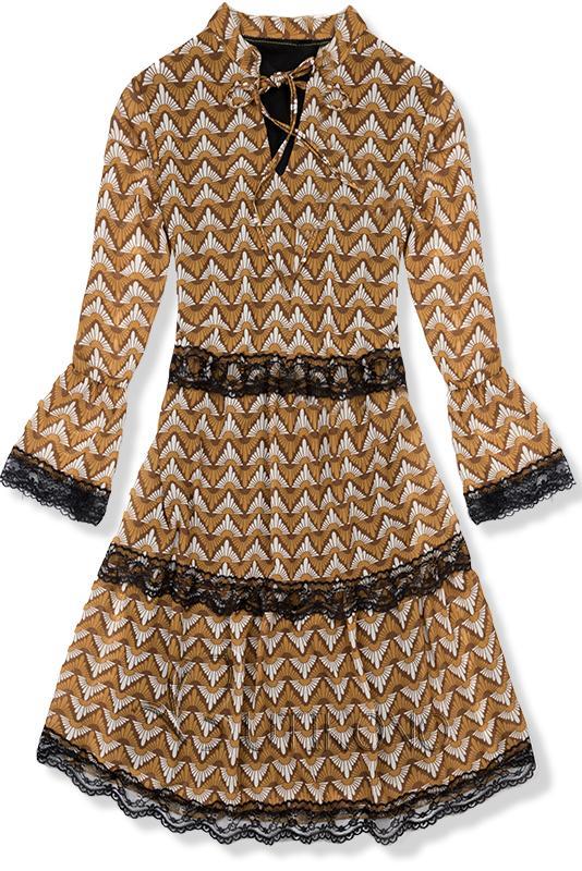 Vzorované šaty žlto-čierne