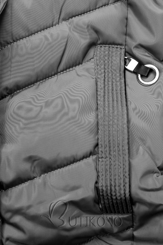 Sivá prešívaná bunda s kožušinou