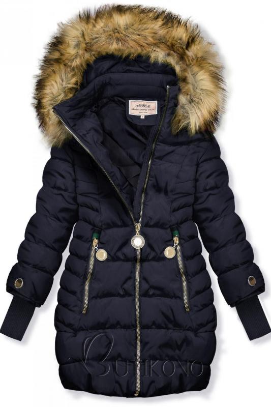 Tmavomodrá bunda s predĺženými rukávmi