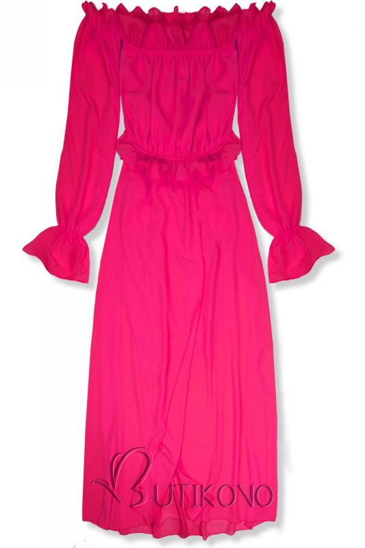 Fuchsiové letné dlhé šaty
