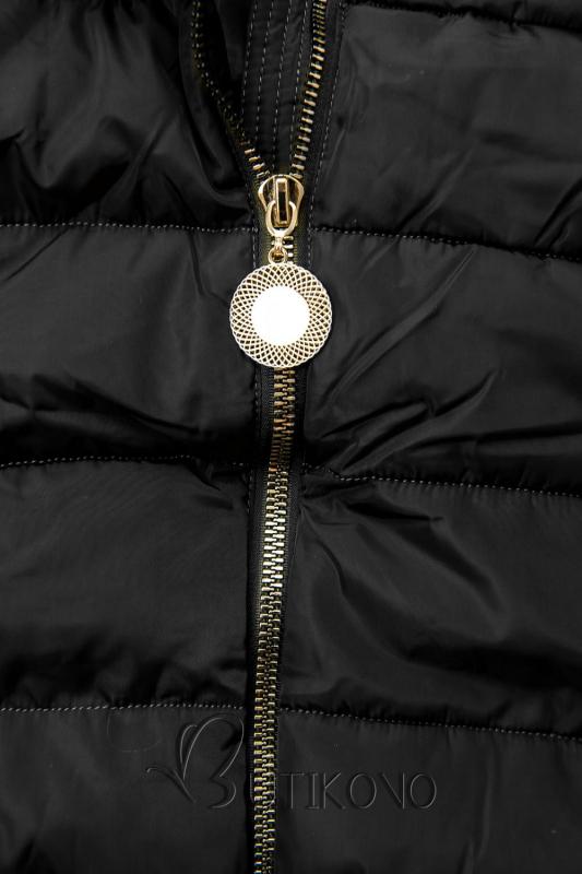 Čierna bunda s predĺženými rukávmi