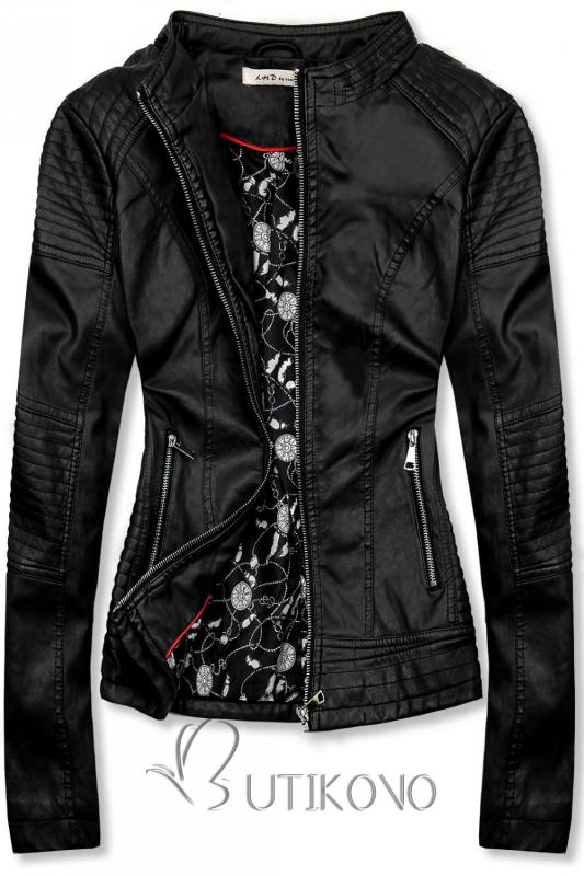 Čierna prešívaná koženková bunda