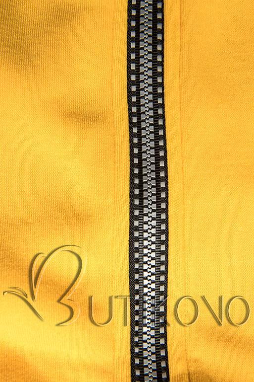 Žltá mikina s pruhovanou podšívkou