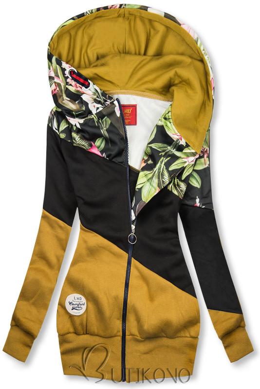 Mustard/čierna kvetinová mikina