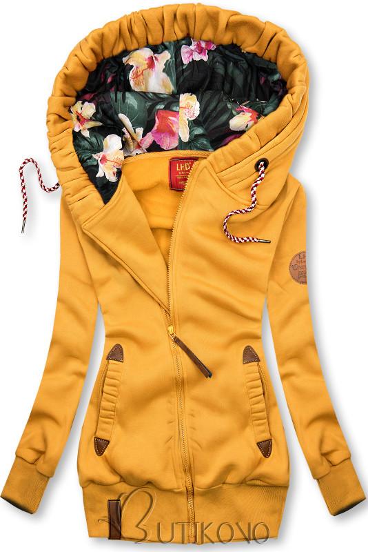 Žltá mikina s kvetinovou podšívkou