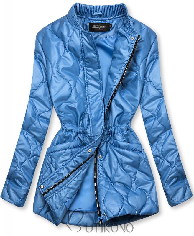 Modrá prešívaná bunda bez kapucne