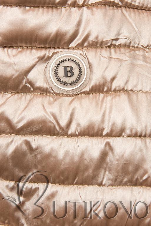 Bronzová prešívaná bunda so vzorovanou podšívkou