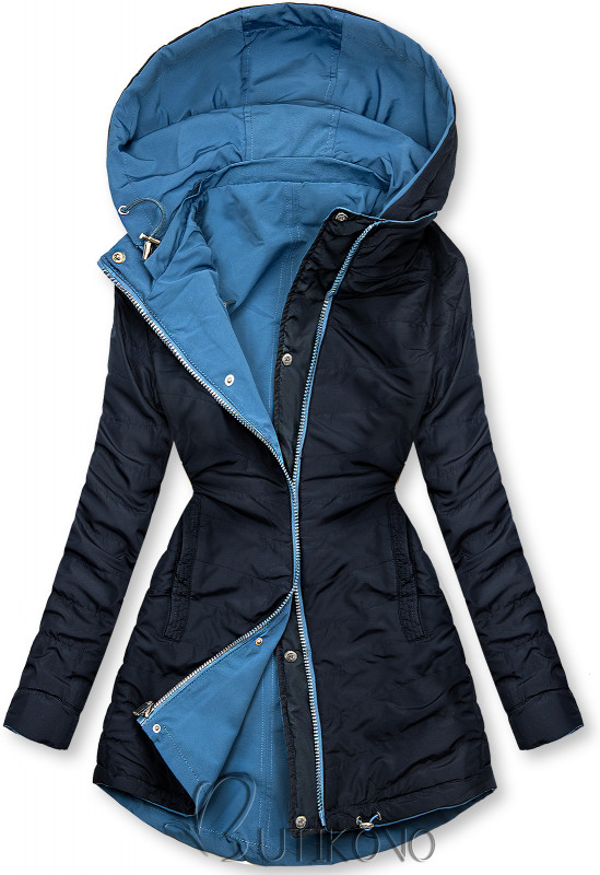 Obojstranná bunda modrá/ tmavomodrá