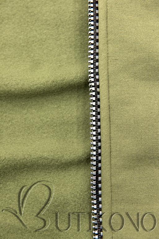 Tepláková súprava s kapucňou khaki/čierna