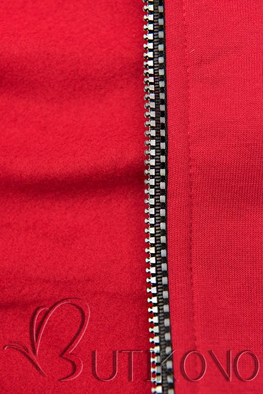 Tepláková súprava s kapucňou červená/čierna