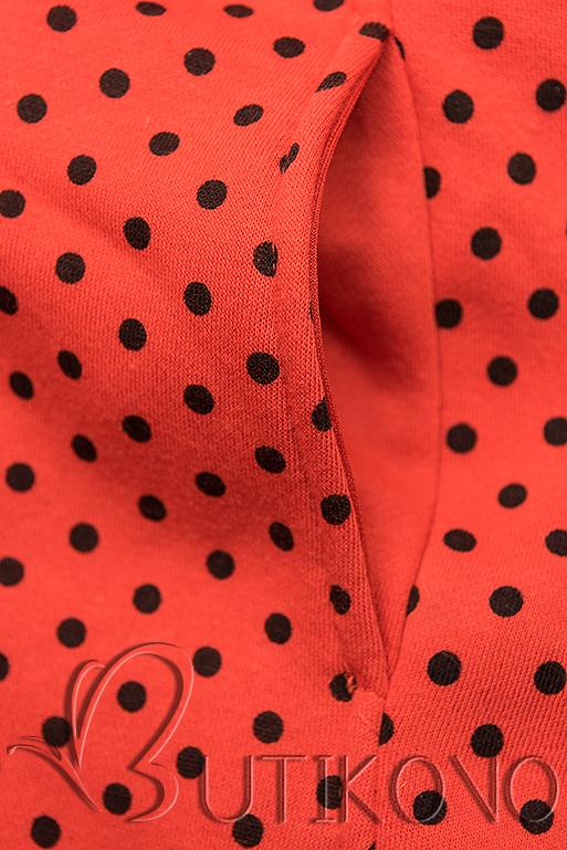 Oranžová predĺžená bodkovaná mikina
