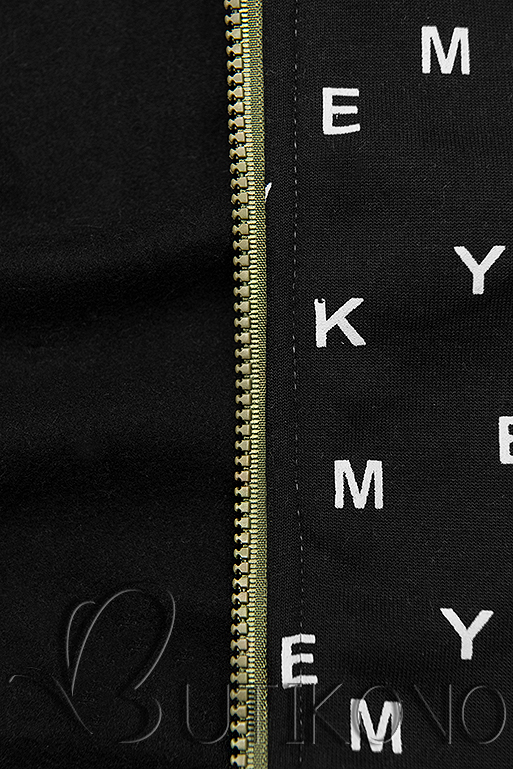 Khaki čierna tepláková súprava s potlačou