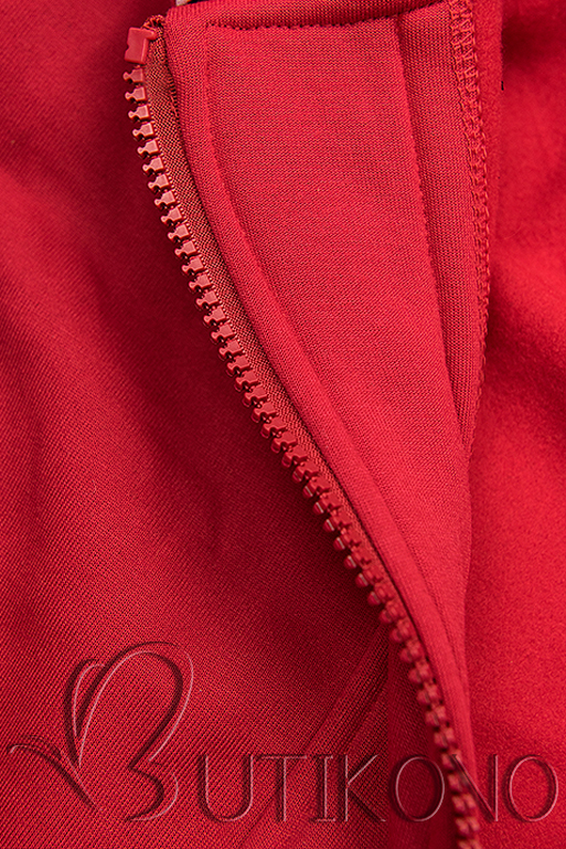 Červená mikina v asymetrickom strihu