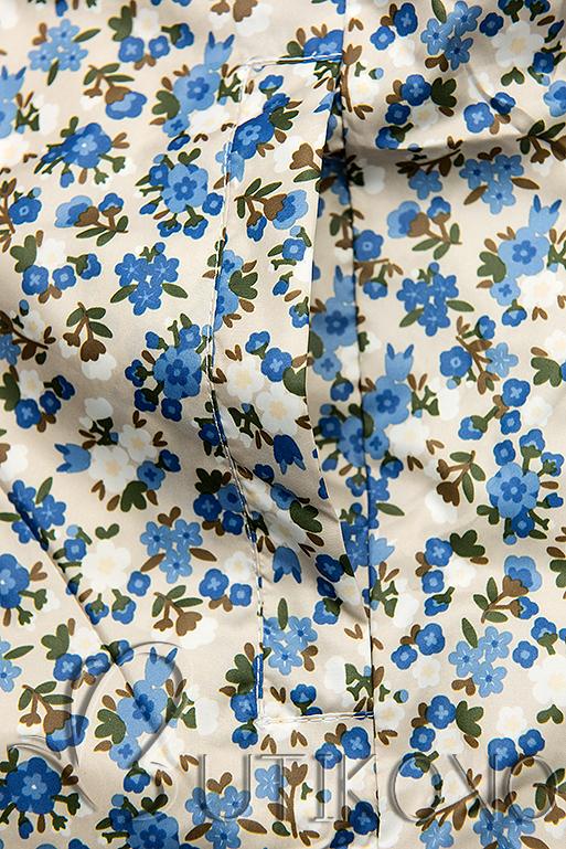 Obojstranná bunda s kvetinovým futrom  béžová