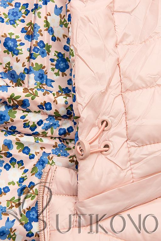 Obojstranná bunda s kvetinovým futrom svetloružová