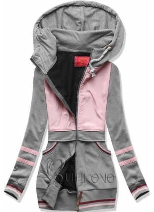 Sivo-ružová mikina s kapucňou