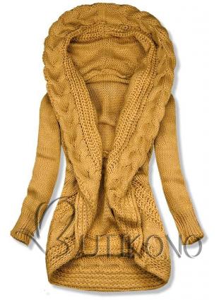 Žltý pletený sveter