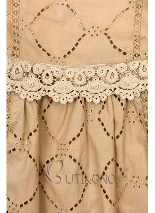 Svetlohnedé šaty s čipkou a výšivkou