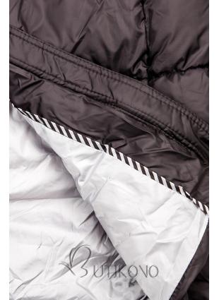 Fialová zimná bunda s kožušinou