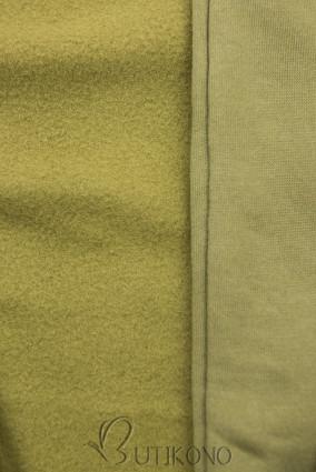 Khaki predĺžená mikina na zips