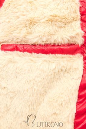 Červená/béžová lesklá bunda s opaskom