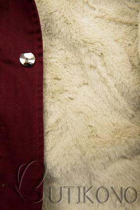 Bordová bavlnená parka s odnímateľnou podšívkou