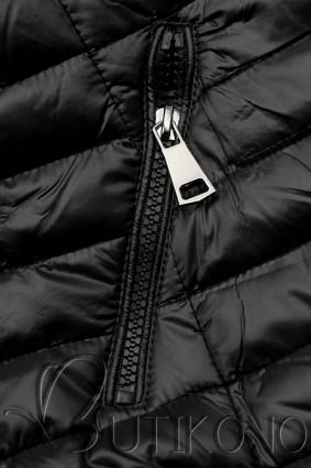 Čierna prešívaná lesklá bunda