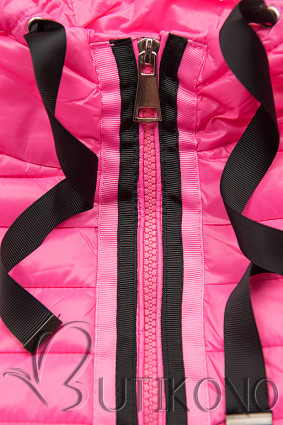 Ružová prešívaná lesklá bunda