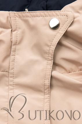 Obojstranná bunda so sťahovaním béžová/modrá