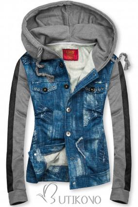 Jeans sivá mikina D402
