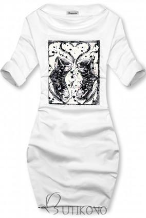 Biele šaty s motívom tenisiek