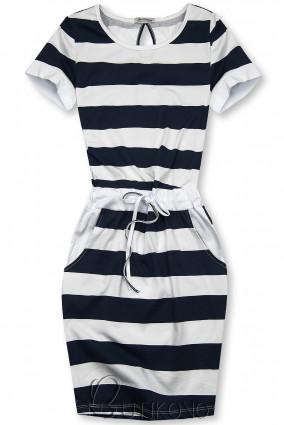 Modro-biele pruhované šaty XX.